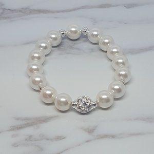 White Shell Pearl Elastic Bracelet & CZ Ball